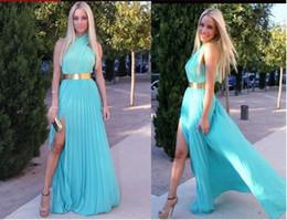 vestidos de noite strapless fita preta Desconto 2019 Chiffon Sexy Halter Prom Vestidos Backless Vestidos de Noite Luz Céu Azul Side Slit Plissado Longo Partido Vestidos de Noite Com Cinto de Ouro