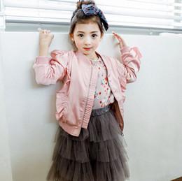 Wholesale Wholesale Baseball Uniforms Jackets - Korean Girls Princess Coat falbala long sleeve zipper Kids Jacket Fashion baseball uniform Children Casual Outwears C2470