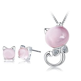 Wholesale Gemstone Cat - Gemstone 100% 925 Silver Jewelry Sets Natural Pink Ross Quartz Lucky Cat Set for Women Top Quality Free Shipping