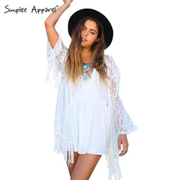 Wholesale Transparent Kimono Cardigan - Crochet kimono women with tassels White tulle lace transparent blouse quimono Long sleeve loose sexy kimono cardigan spring 2015