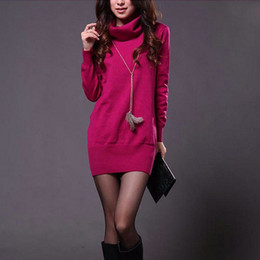 Wholesale Red Sweater Mini Dress - Spring Autumn Women Sweater Dress Candy Color Long Sleeve Turtle Neck Knitted Mini Dress Sexy Slim Pullover Dresses One Size