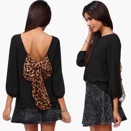 Wholesale Dress Long Back Leopard - 2012 free shipping 2016summer women new fashion back leopard bow long sleeve loose chiffon blouse ladies girls blouses dress tops plus size