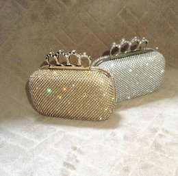 Wholesale Cheap Diamond Rhinestones - New Vintage Cheap Wedding Bridal Handbags Crystal Rhinestone Diamond Ring Knuckle Evening Clutch Bag Shoulder Purse Wallet Cocktail Box Xmas