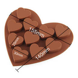 Wholesale Heart Fondant Cake - Free Shipping Heart Type Muffin Sweet Candy Jelly Fondant Cake Chocolate Mold Silicone Tool Baking Pan