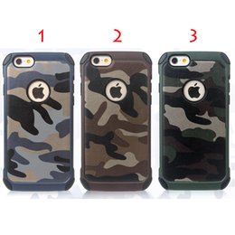 Wholesale Iphone Camo Dhl - FOR iPhone7 7plus iPhone Cell phone cases TPU+PC Amy Camo Luxury Camouflage 2 in 1 Hybird Back Cover For iphone5 6 6plus DHL Free SCA065