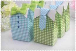 Wholesale Gift Bags Ties - 300 pcs My Little Man Blue Green Bow Tie Birthday Boy Baby Shower Favor Candy Treat Bag Wedding Favors Candy Box gift Bags
