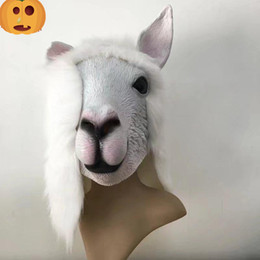 Wholesale Horse Fancy Dress - Realistic Fancy dress Latex Cute Sheep Mask Popular animal goat Mask Design full head for Adult masquerade party mud horse mask free size