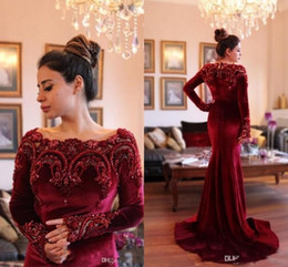 Wholesale Velvet Evening Gowns Crystals - 2017 Gorgeous Long Sleeves Formal Evening Dresses with Beaded Collar Mermaid Burgundy Velvet Long Prom Dresses Evening Party Gowns