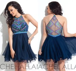 Wholesale pink rhinestone short homecoming dresses - 2018 New Navy Luxury Short Homecoming Dresses Colorful Hand Beads Rhinestones Illusion Short Prom Dresses Cocktail Party Dresses BA1868