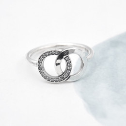 Wholesale Real Silver Finger Ring - 2017 New Hot Sale Real 925 Sterling Silver Lucky Circle whit Clear CZ Finger Rings For Women Fashion Jewelry fit pandora Gift