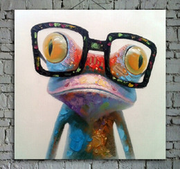 Wholesale Glass Panels For Walls - Hand Painted Animal Painting on Canvas Happy Frog with Glasses Art for Sofa Wall Decoration or in Children Room 1pc