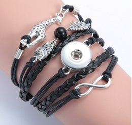 Wholesale Owl Delivery - new arrival drop delivery infinity owl Giraff noosa button bracelet alloy pu leater woven handmade snap button bracelet diy jelwery for 18mm
