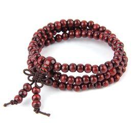 Wholesale Wood Beaded Bracelet Men - 2016 Hot sales 108*6mm Natural Sandalwood Buddhist Buddha Meditation 108 beads Wood Prayer Bead Mala Bracelet Women Men jewelry 50pcs