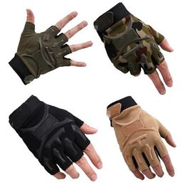 Wholesale Game Horse - Wholesale-High Quality Army Tactical Gloves Outdoor Camping Hunting Game Half Finger Horse Riding Fitness Gloves For Men and Women JXY0147