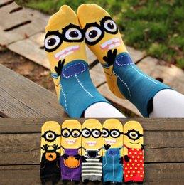 Wholesale Korean Style Drop Shipping - Despicable Me Minion Socks cute cartoon sox summer South Korean style Fashion Cotton Printing Tube Socks floor meias Socks Drop Shipping