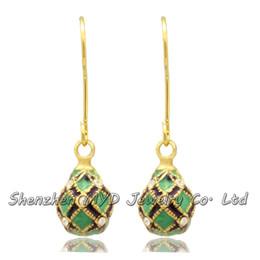 Wholesale Valentine Ladies Jewelry - High quality ladies elegant jewelry stylish hand enamel crystal mini Faberge egg drop earrings Valentines Day gift