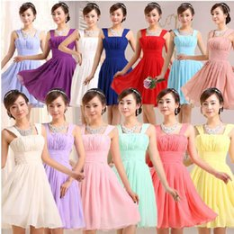 Wholesale Knee High Cheap Bridesmaids Dresses - 2016 bridesmaid dresses cheap yellow Royal blue purple dress strap knee length high waist chiffon party dresses 11 color 7 size