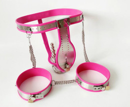 Wholesale thighs bondage belts - 3pcs set Stainless Steel Male Chastity Belt+Anal Plug+Thigh Ring Bdsm Bondage Men Chastity Device Cock Cage Sex Products for Man