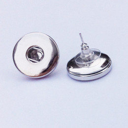 Wholesale Press Stud Buttons - 18mm Snap Round Earring Post Stud W Stoppers Fits Metal Snap Press Buttons 19x17mm diy making not include charms button