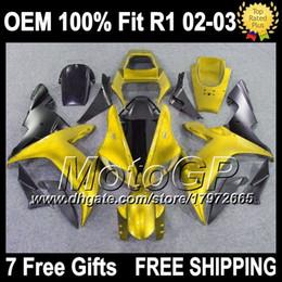 Wholesale Oem Fairings - OEM+Fairing For YAMAHA YZF1000 02 03 YZF R 1 Gold black YZF-R1 2002 2003 G100269 YZFR1 YZF 1000 YZF R1 02-03 Injection Kit Golden black