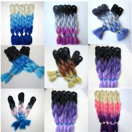Wholesale Synthetic Braiding Hair Purple - Kanekalon Synthetic Braiding hair 20 24inch 100g Black+Dark Purple+Light Purple Ombre three tone color Jumbo braid hair extensions 8colors