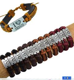 Wholesale Genuine Leather Wrap Bracelet - I love JESUS Genuine Leather Bracelet Antique Rope Religious Charms Wrap Bracelet For Women Men Wristband