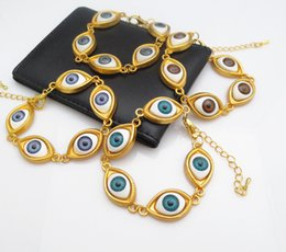 Wholesale Leather Braided Evil Eye Bracelets - Evil eyes Infinity bracelet Gold color hand woven leather Braided charm bracelets with chain Hy4445