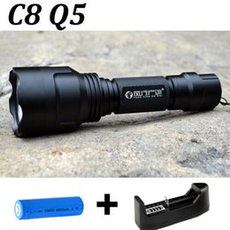 Wholesale Rechargeable Drop Light - Drop shipping 2000 Lumens C8 CREE Q5 5 Mode Flashlight Torch Light + 18650 Rechargeable battery+Charger FREE Shipping!