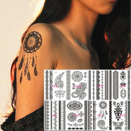 Wholesale Black Henna Hand Tattoos - 50pcs Black Lace Tattoo Temporary Henna Feather Butterfly Elepant Design Tatuagem Free Express