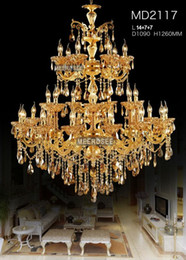Wholesale E14 28 Led - Large 3 tiers Gold Crystal Chandelier Lighting Big Cristal Lustres Light Fixture 28 Arms Chandelier Crystal for Hotel MD2117