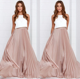 Wholesale Maxi Elastic Waist Chiffon Skirt - Nude Pink Skirt Pleated Gorgeous Ruffles Maxi Dresses for Women A-line Elastic Waist Prom Party Long Skirt for Women