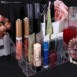 Wholesale Acrylic Book Display Stands - Wholesale-ShineLi Clear Acrylic 24 Lipstick Holder Display Stand Cosmetic Organizer Makeup Case Book