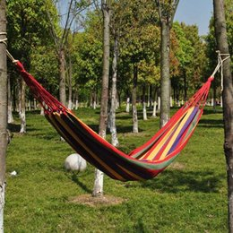 Wholesale Hammock Swing Chair Outdoor - Wholesale 5pcs lot 1 Person Hammock Outdoor Canvas Furniture Sleeping Hanging Chair Swing Bed 195x80cm