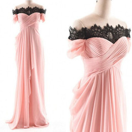 Wholesale Quality Dress Shirts Cheap - 2018 Cheap High Quality Prom Dress Long Formal Evening Party Gowns Black Lace Off the Shoulder Ruched Chiffon Blush Pink Corset Formal Dress