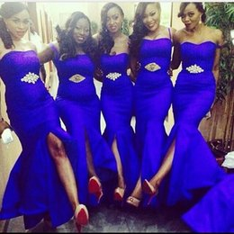 Wholesale Coral Dresses For Girls - 2016 Cheap Sexy Royal Blue Mermaid Long Bridesmaid Dresses High Quality Split Wedding Party Gowns for Girls with Shiny Rhinestones