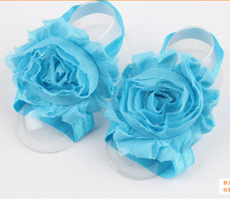 Wholesale Silk Flower Foot Band Baby - Wholesale Sunflowers foot with European and American baby baby foot ornaments foot flower 12color options 30pcs