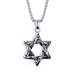 box casting Coupons - Unique Design High Quality Casting Biker 316L Stainless Steel tar of David Hexagon Pendant Necklace 20'' Box Chain Men Gift