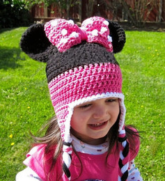 Wholesale Minnie Mouse Knitted - Children Girls Boys Cute Mouse Hat Minnie Micky Design Knitted Hats For Photography Baby Handmade Knitting Hats B3625