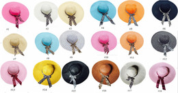 Wholesale Ladies Wide Brimmed Straw Hat - Straw beach hats lady straw hats women's caps fashion wide hats 18 colors available mix colors
