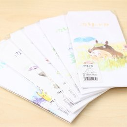 Wholesale Letter Stationary - Wholesale- 5pcs Cute My Neighbor Totoro Cartoon Envelope Message Card Letter Stationary Storage Paper Gift