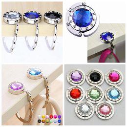 Wholesale Folding Purse Hook Hanger - Portable Rhinestone Folding Handbag Purse Bag Hook Crystal Alloy Hanger Holder Bag Hanger Hook 12 Colors 300pcs OOA3357