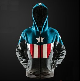 Wholesale Captains Coat - New high quality Captain America Sweater Coalition of the vengeance The same paragraph Super hero Fleece Cardigan zipper Men's coat