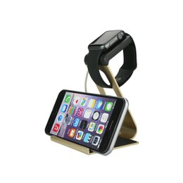 Wholesale Ipad Charging Station - Wholesale-For iPad Air iPhone 6 Plus Aluminum Metal Charging Stand Bracket Docking Station Stock Cradle Holder For Apple i Watch 38mm 42mm