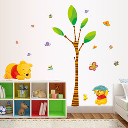 Wholesale Winnie Pooh Tree - 1pcs Winnie the Pooh And Trees Wall stickers Living Room Kids Bedroom House decor 3D Cartoon temporary Wallpaper Decal Ornament