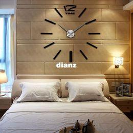 2019 большие желтые часы Новое поступление Главная DIY украшения большой кварц акриловые зеркало настенные часы, сейф 3D современный дизайн мода как искусство декоративные настенные наклейки часы