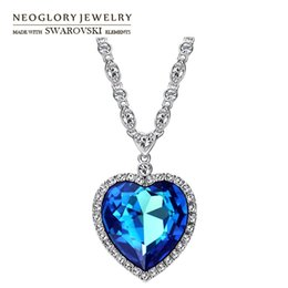 Wholesale Neoglory Necklace - Neoglory Austria Crystal & Zircon Long Charm Pendant Necklace Romantic Love Heart Design Trendy Exquisite Classic Sale