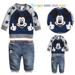 Wholesale Mouse Children Sweater - Retail Baby Boys Long-Sleeve Cartoon Mickey Mouse Printed Sweater+Denim Trousers 2pcs Set Children Casual Jeans Suits Kid's Outfits Clothing