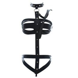 Wholesale Leather Harness Teddy - w1031 Women Sexy Fancy Body Harness Fetish Bondage Restraint PU Leather Teddy Lingerie