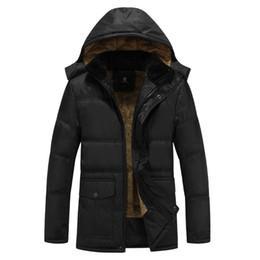 Wholesale Down Feather Jacket - Wholesale-2017 Winter Mens White Duck Down Jacket 4XL 5XL Plus Size Warm Fleece Coat Ultra Light Goose Feather Down Jacket Hooded Parka