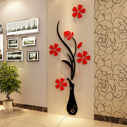 Wholesale Wall Art Removable - Wall Stickers Acrylic 3D Plum Flower Vase Stickers Vinyl Art DIY Home Decor Wall Decal Red Floral Wall Sticker Colors